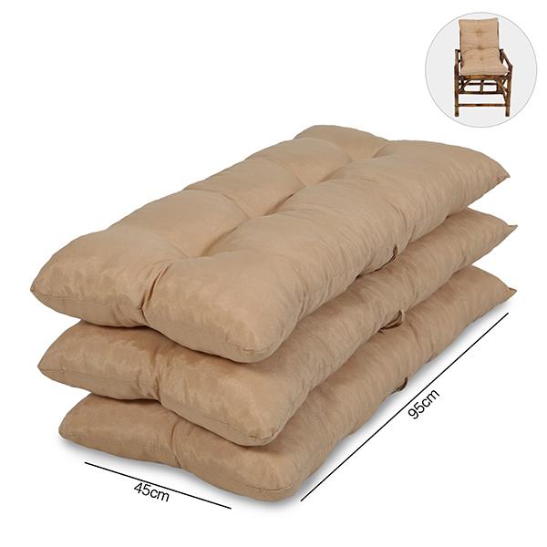 Kit 3 Almofadas Para Cadeiras de Bambu e Vime Nude