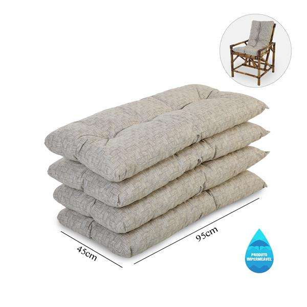 Kit 4 Almofadas Impermeáveis P/ Cadeiras de Bambu/Vime Bege
