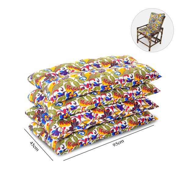 Kit 4 Almofadas Para Cadeiras de Bambu e Vime Floral