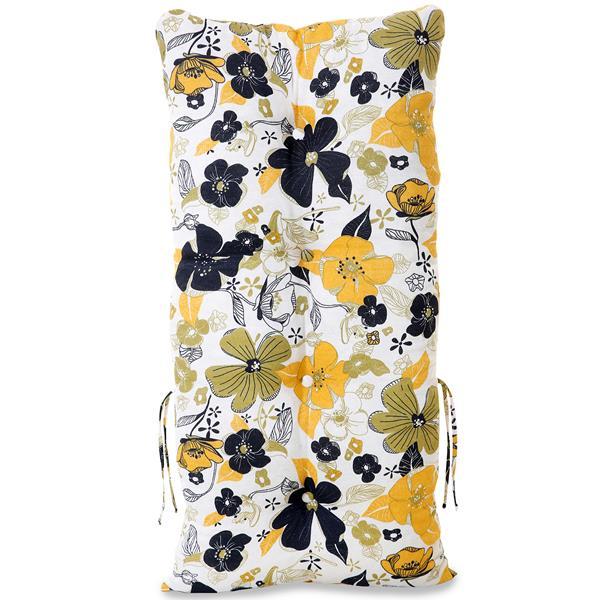 Kit 4 Almofadas Para Cadeiras de Bambu e Vime Flores Preta