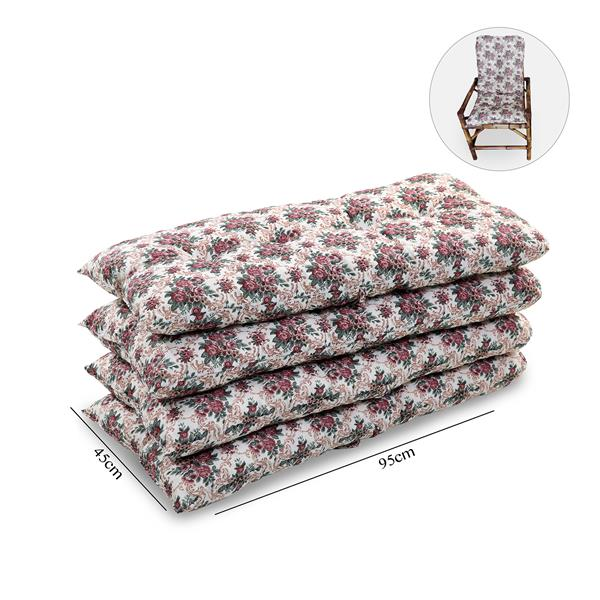 Kit 4 Almofadas Para Cadeiras de Bambu e Vime Mini Rosa