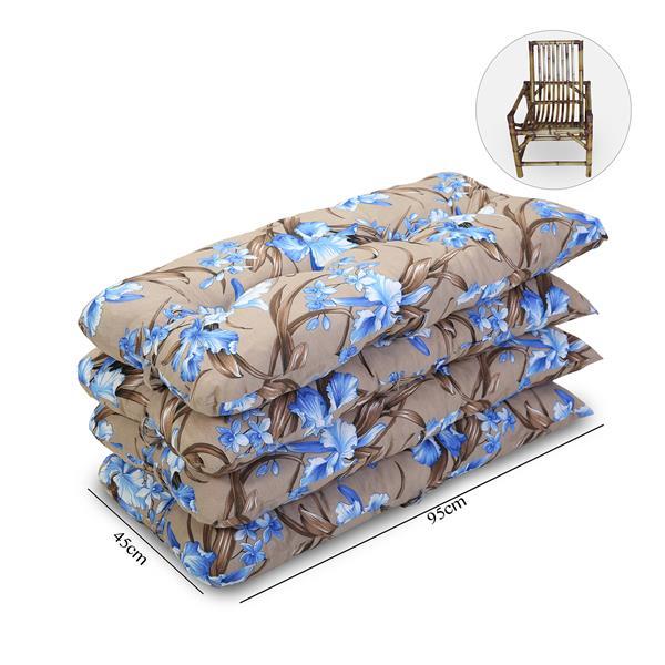 Kit 4 Almofadas Para Cadeiras de Bambu e Vime Orquídea Azul