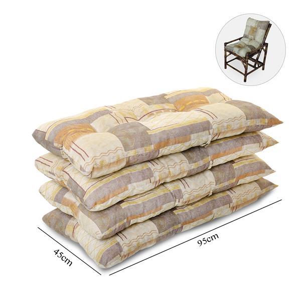 Kit 4 Almofadas Para Cadeiras de Bambu e Vime Retalho Bege