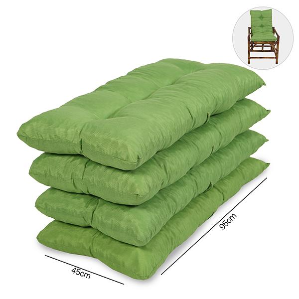 Kit 4 Almofadas Para Cadeiras de Bambu e Vime Verde