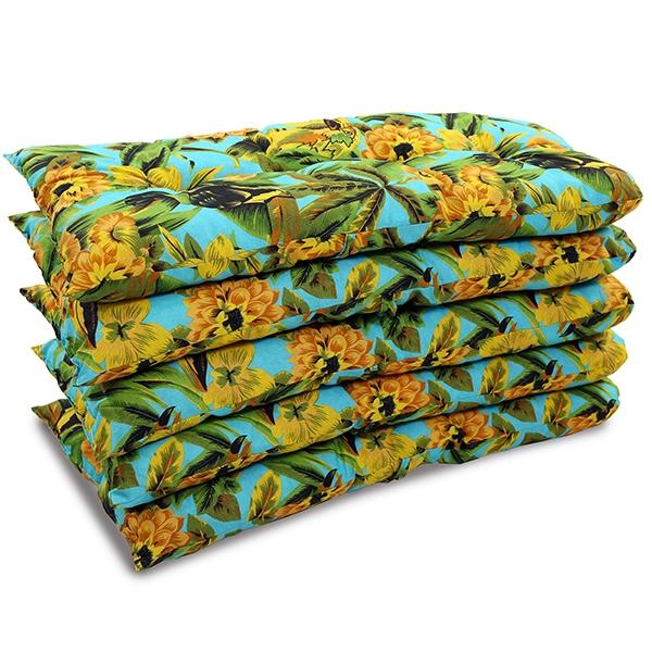 Kit 5 Almofadas Para Cadeiras de Bambu e Vime Flor Amarela