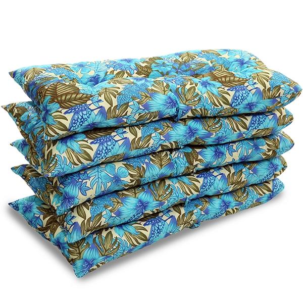 Kit 5 Almofadas Para Cadeiras de Bambu e Vime Flor Azul