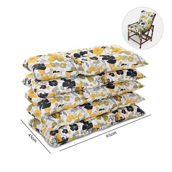 Kit 5 Almofadas Para Cadeiras de Bambu e Vime Flores Preta
