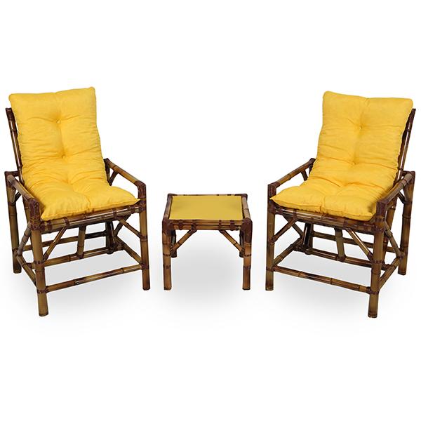 Kit Cadeiras de Bambu 2 Lugares com Almofadas Amarela
