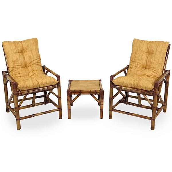 Kit Cadeiras de Bambu 2 Lugares com Almofadas Amarelo Mesclado