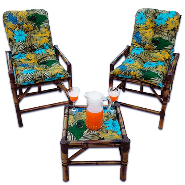 Kit Cadeiras de Bambu 2 Lugares com Almofadas Araras