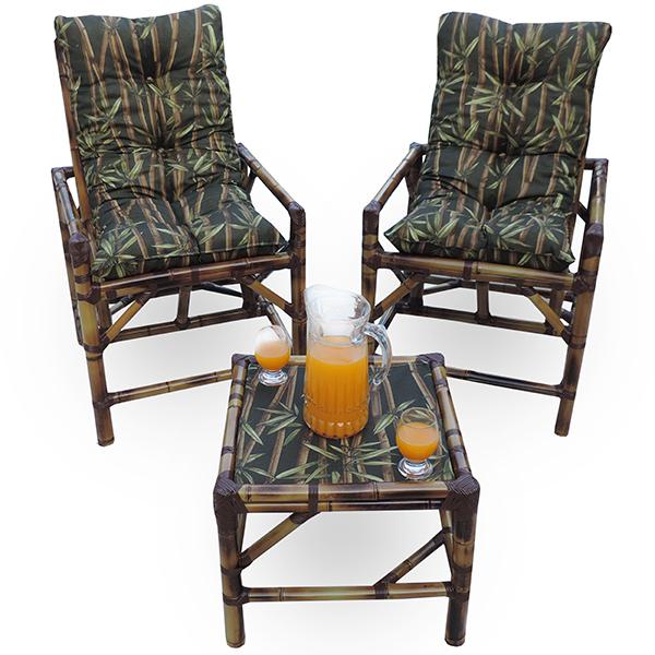 Kit Cadeiras de Bambu 2 Lugares com Almofadas Bambu Escuro