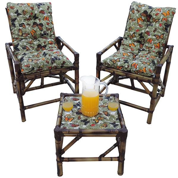 Kit Cadeiras de Bambu 2 Lugares com Almofadas Borboletas