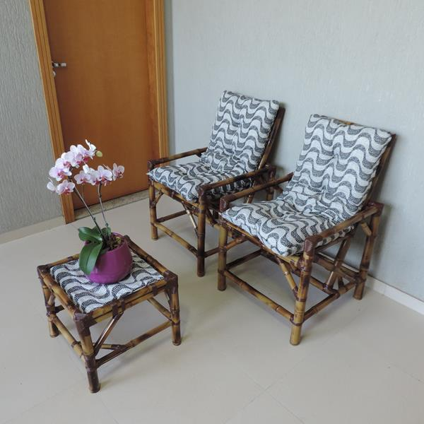 Kit Cadeiras de Bambu 2 Lugares com Almofadas Copacabana