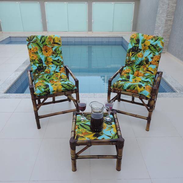 Kit Cadeiras de Bambu 2 Lugares com Almofadas Flor Amarela