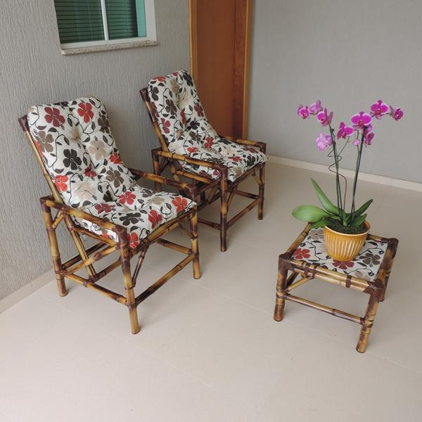 Kit Cadeiras de Bambu 2 Lugares com Almofadas Flores Hibiscos