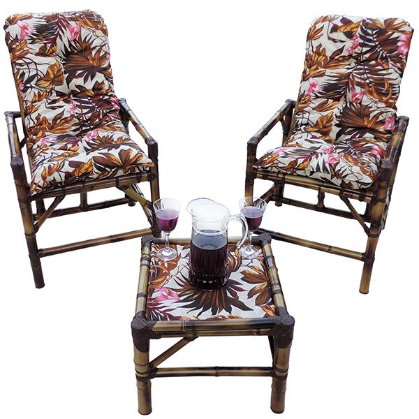 Kit Cadeiras de Bambu 2 Lugares com Almofadas Folhagem Outono