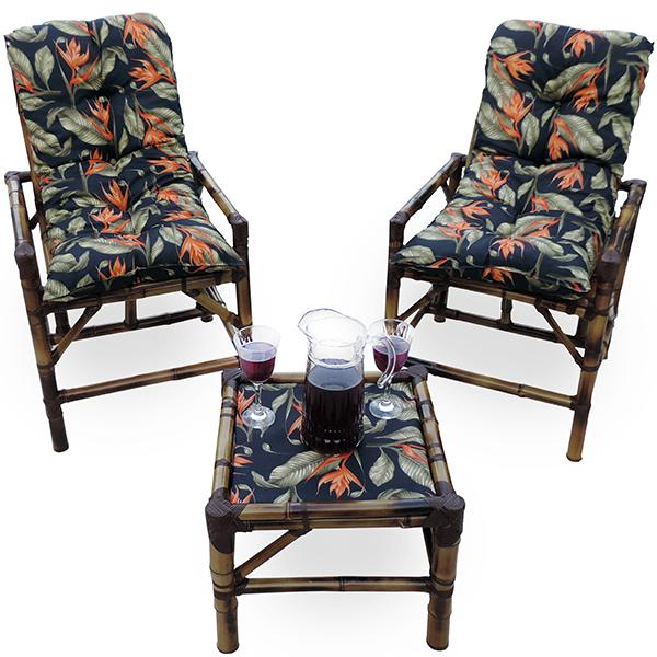 Kit Cadeiras de Bambu 2 Lugares com Almofadas Helicônia