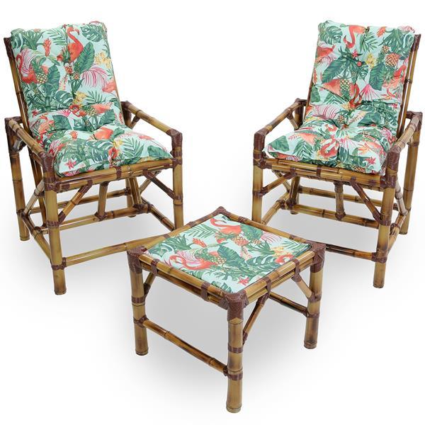 Kit Cadeiras de Bambu 2 Lugares com Almofadas Impermeáveis Aruba
