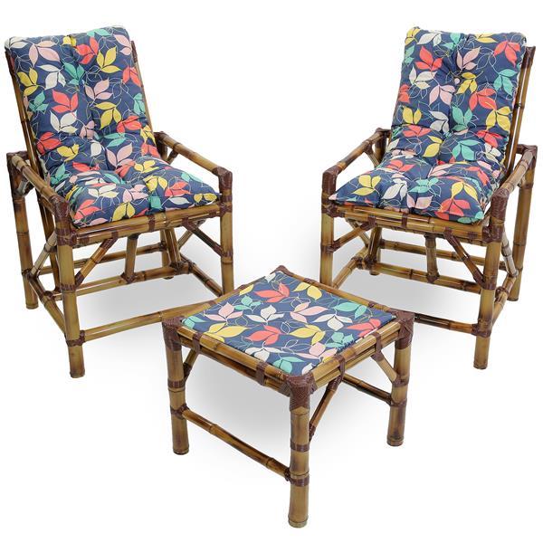 Kit Cadeiras de Bambu 2 Lugares com Almofadas Impermeáveis Barça
