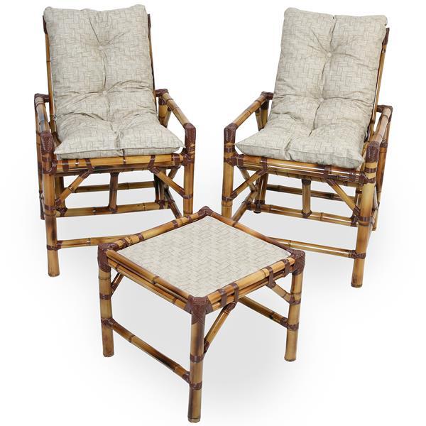 Kit Cadeiras de Bambu 2 Lugares com Almofadas Impermeáveis Bege