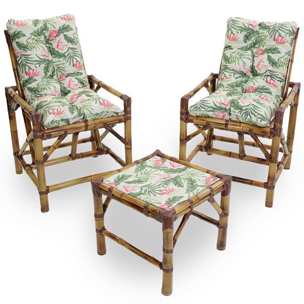 Kit Cadeiras de Bambu 2 Lugares com Almofadas Impermeáveis Flor