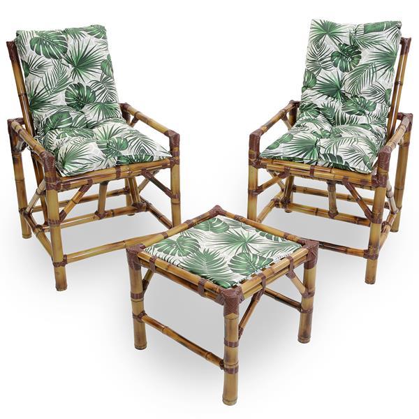 Kit Cadeiras de Bambu 2 Lugares com Almofadas Impermeáveis Folha
