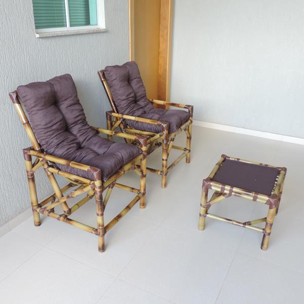Kit Cadeiras de Bambu 2 Lugares com Almofadas Marrom
