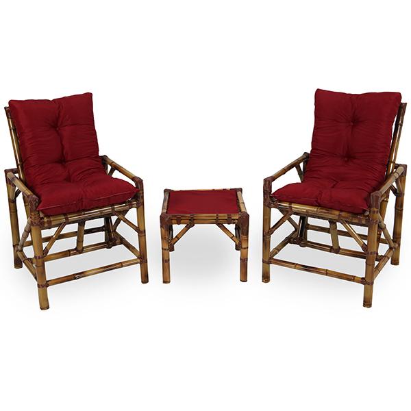 Kit Cadeiras de Bambu 2 Lugares com Almofadas Marsala