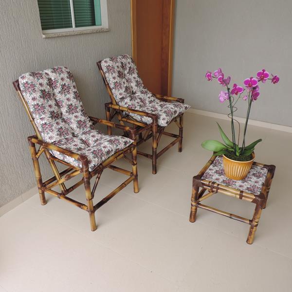 Kit Cadeiras de Bambu 2 Lugares com Almofadas Mini Rosa
