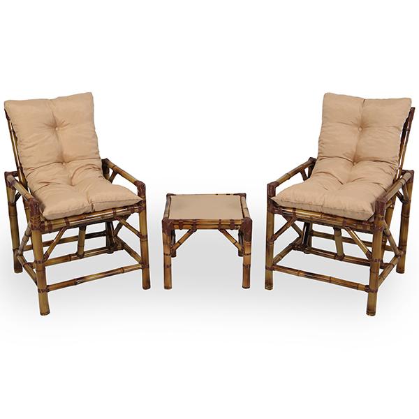 Kit Cadeiras de Bambu 2 Lugares com Almofadas Nude