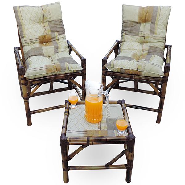 Kit Cadeiras de Bambu 2 Lugares com Almofadas Retalho Bege