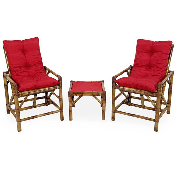 Kit Cadeiras de Bambu 2 Lugares com Almofadas Vermelha