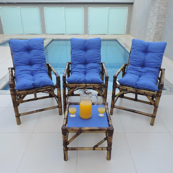 Kit Cadeiras de Bambu 3 Lugares com Almofadas Azul