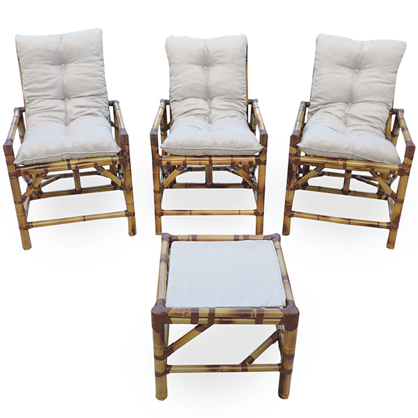 Kit Cadeiras de Bambu 3 Lugares com Almofadas Cinza