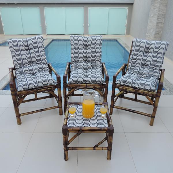 Kit Cadeiras de Bambu 3 Lugares com Almofadas Copacabana