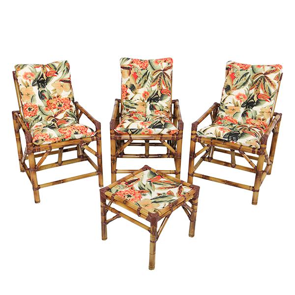 Kit Cadeiras de Bambu 3 Lugares com Almofadas Flores Laranja