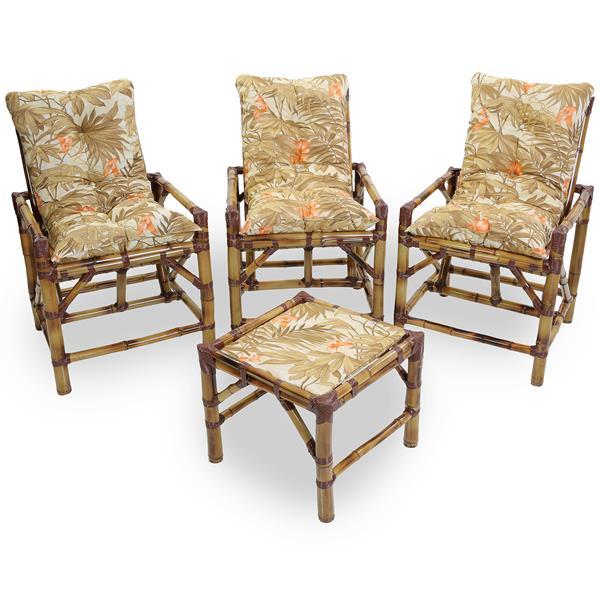Kit Cadeiras de Bambu 3 Lugares com Almofadas Folhagem Claro