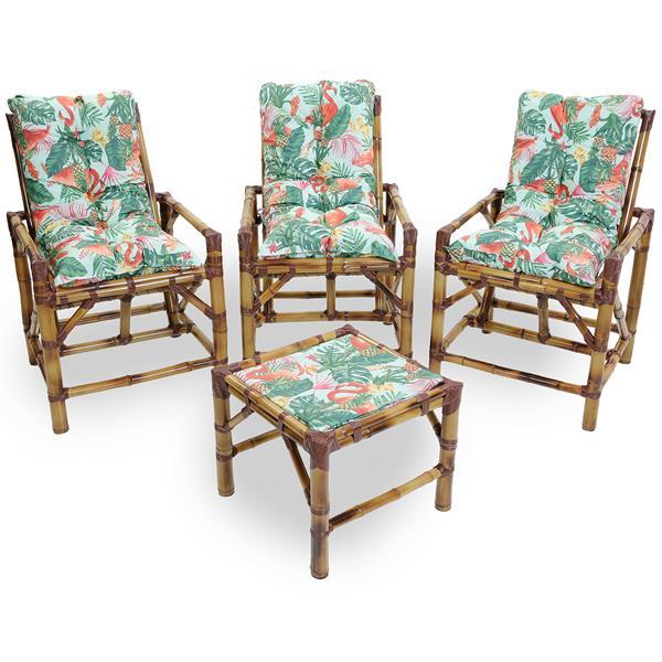 Kit Cadeiras de Bambu 3 Lugares com Almofadas Impermeáveis Aruba