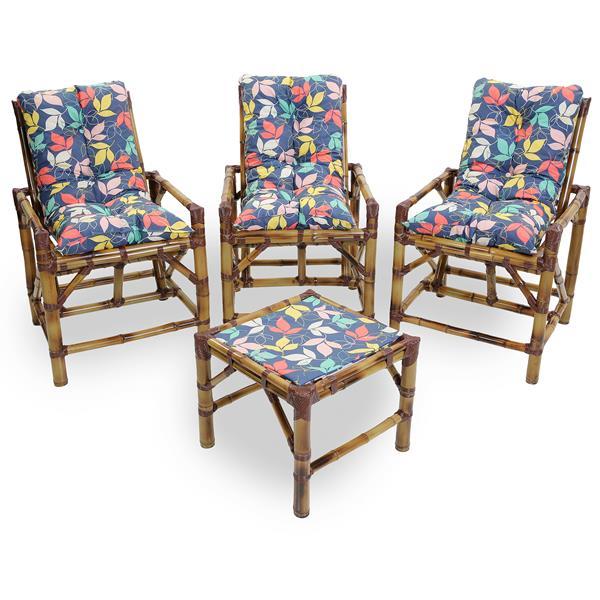 Kit Cadeiras de Bambu 3 Lugares com Almofadas Impermeáveis Barça