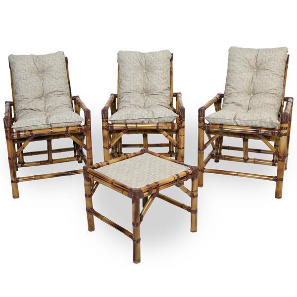Kit Cadeiras de Bambu 3 Lugares com Almofadas Impermeáveis Bege