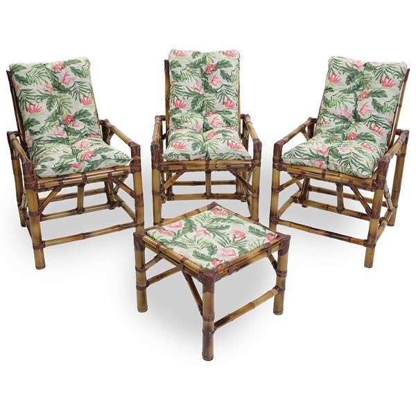 Kit Cadeiras de Bambu 3 Lugares com Almofadas Impermeáveis Flor