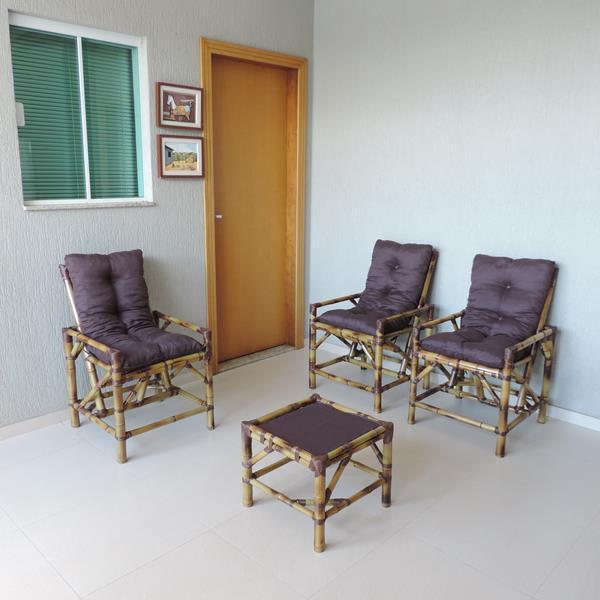 Kit Cadeiras de Bambu 3 Lugares com Almofadas Marrom
