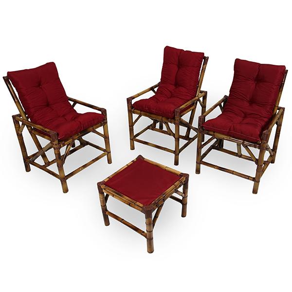 Kit Cadeiras de Bambu 3 Lugares com Almofadas Marsala
