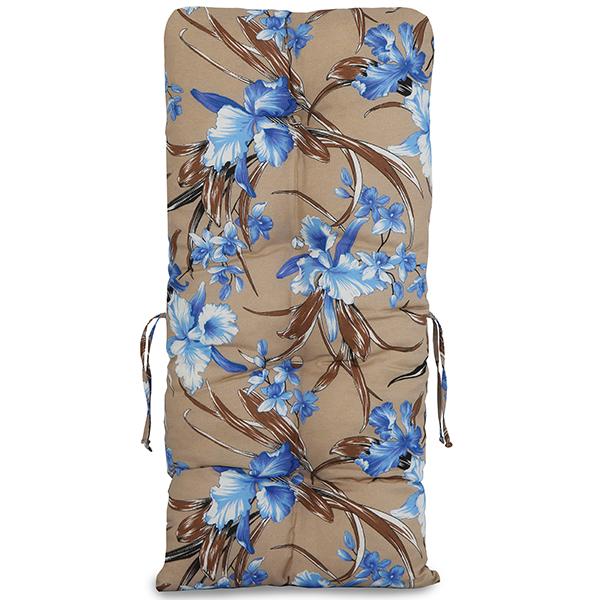 Kit Cadeiras de Bambu 3 Lugares com Almofadas Orquídea Azul