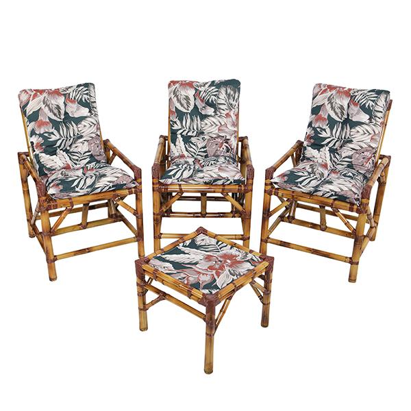 Kit Cadeiras de Bambu 3 Lugares com Almofadas Orquídea Marrom