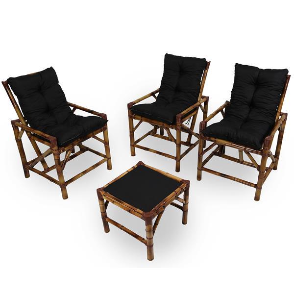 Kit Cadeiras de Bambu 3 Lugares com Almofadas Preta