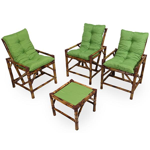 Kit Cadeiras de Bambu 3 Lugares com Almofadas Verde