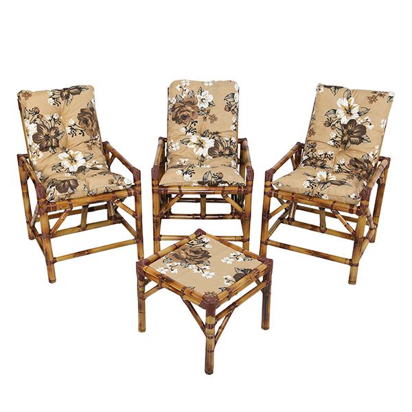 Kit Cadeiras de Bambu 3 Lugares com Almofadas Zenaide Marrom
