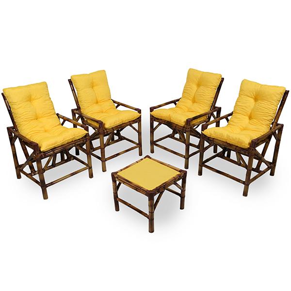 Kit Cadeiras de Bambu 4 Lugares com Almofadas Amarela