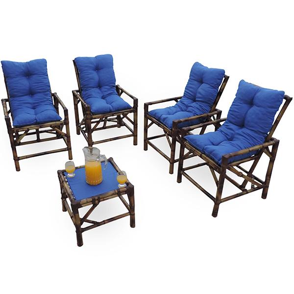 Kit Cadeiras de Bambu 4 Lugares com Almofadas Azul